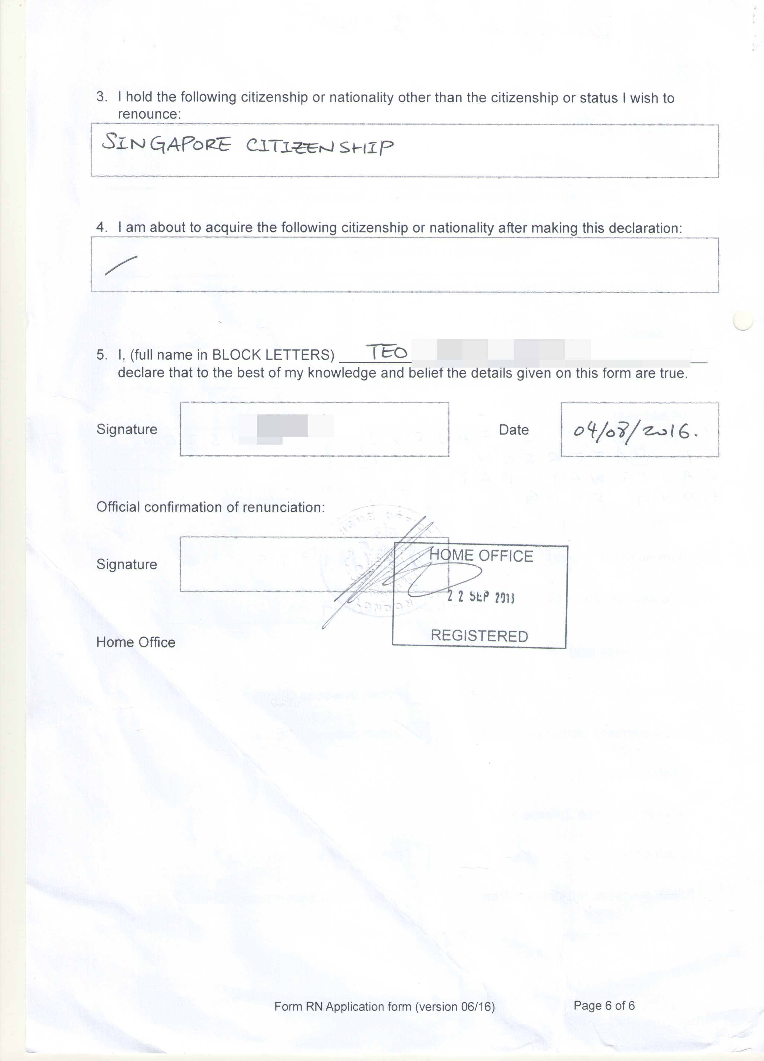 Andrew Leung's British citizenship renunciation document